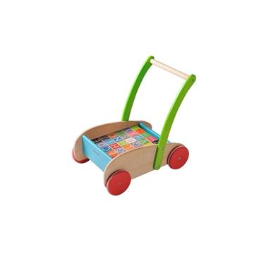 Слика на Дрвена количка со коцки (Букви, бои, форми)