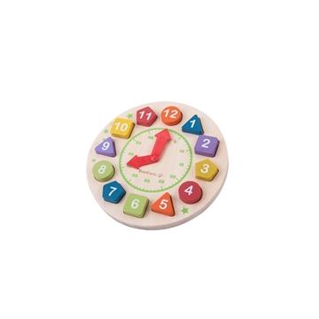 Слика на Дрвен часовник со форми и бои
