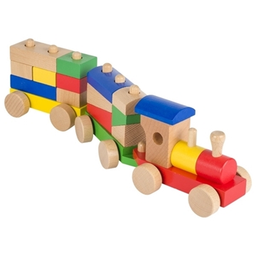 Слика на Воз од дрво со блокчиња во разни форми и бои
