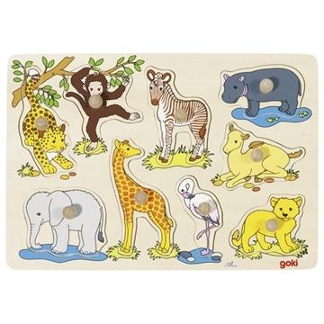 Слика на Младенчиња на африкански животни - Сложувалка со дршки