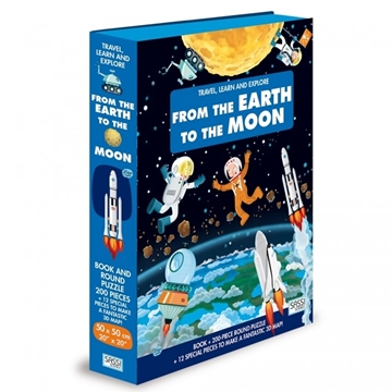 Слика на From the Earth to the Moon - Book and Shaped Puzzle (Travel, Learn and Explore)