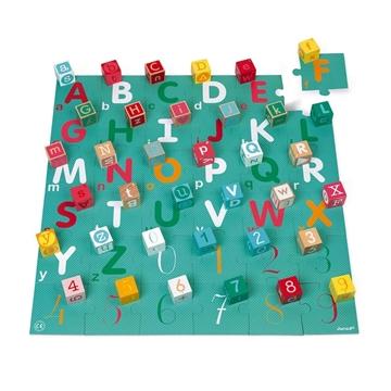 Слика на 40 Дрвени коцки со сложувалка - БУКВИ И БРОЈКИ (Абецеда)- Janod